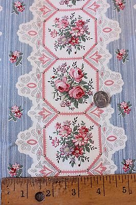 """Never Used French Antique Printed Lace&Roses Home Fabric c1890-1900~1yd10""""LX31""""W"""
