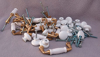 Lot of 38 Drawer Pulls Mixed White Knobs & Brass Toned Pulls with Screws