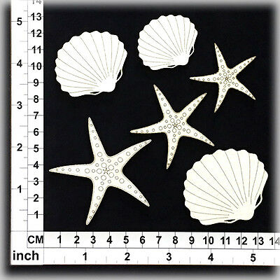 Chipboard Embellishments for Scrapbooking, Cardmaking - Shells 26062w