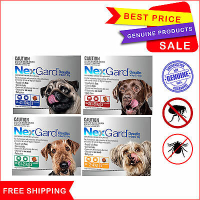 Nexgard Chewable Flea and Tick Treatment all sizes for Dog 3 Chews by Merial New