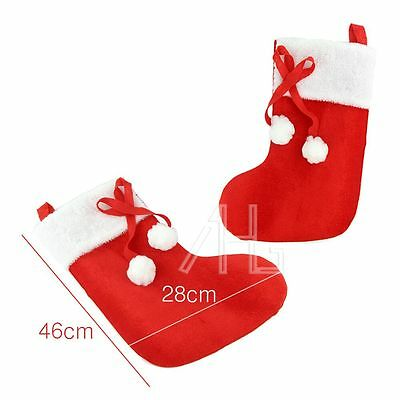 Set of 2 Deluxe Christmas Large Pom Stocking Sack Xmas Stock Hanging Decoration