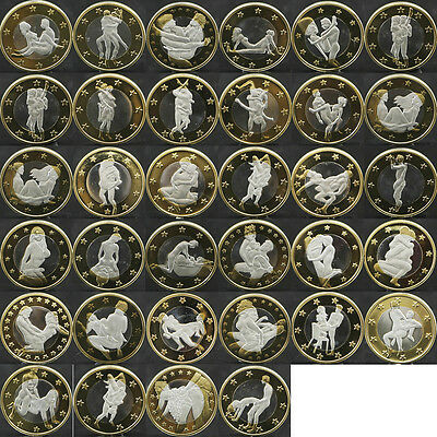 34pcs Sex 6 Euro Coins Different Kama Sutra Position Hard Plastic Capsules 2015