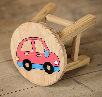 Wooden Car Stool Red Blue Children's Furniture New In Box