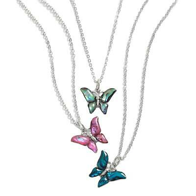 NEW Ladies Small Colorful Inlaid Paua SHELL Butterfly Pendant NECKLACE Statement