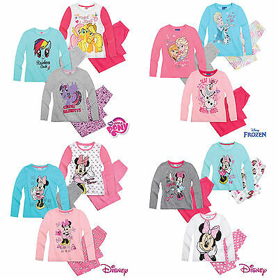 Girls Pyjamas Long Sleeve Disney Frozen Minnie Mouse MLP Age 2-10 New Official