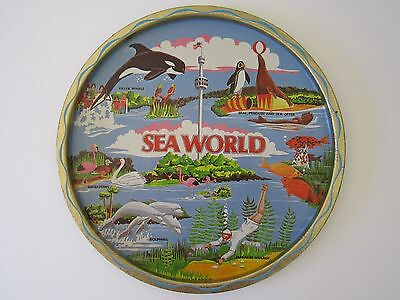 VTG Seaworld Metal Serving Tray Aquarium Art Plaque Shamu Flamingos Scuba Dive