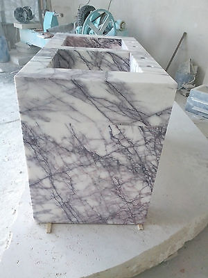 Calacatta Marble, Polished Handmade Solid White Marble DoubleSink 1250x950x650mm