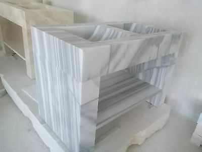 Skyline Marble, Polished Handmade Solid White Marble DoubleSink 1250x950x650mm