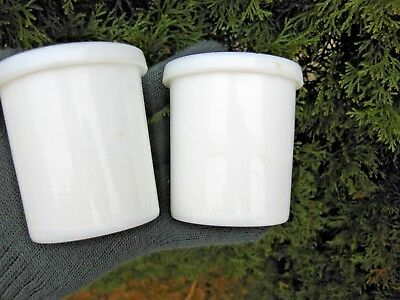 Antique Two Milk White Glass  Cheese Curds Whey Dairy Pair Food Containers