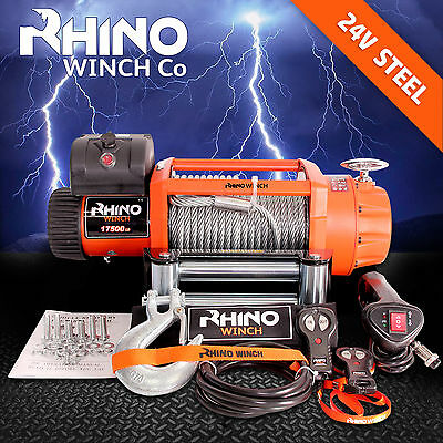 "ELECTRIC WINCH 24v TRUCK 4 x 4 RECOVERY 17500lb  ""RHINO""  Not 17000lb or 13000lb"