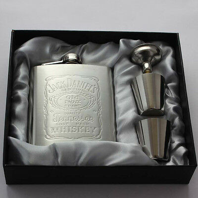 7OZ Set Engraved Special Stainless Steel Hip Flask Portable Flagon Gift Bar CI