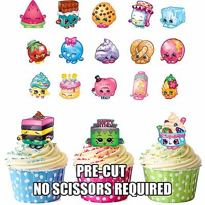 PRECUT Shopkins Birthday Party Pack 36 Edible Cupcake Toppers Cake Decorations