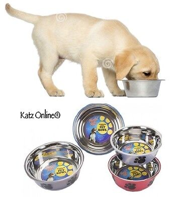 Katz Stainless Steel Dog Pet Bowl Cat Puppy Paws Design Water Feed Feeder LARGE