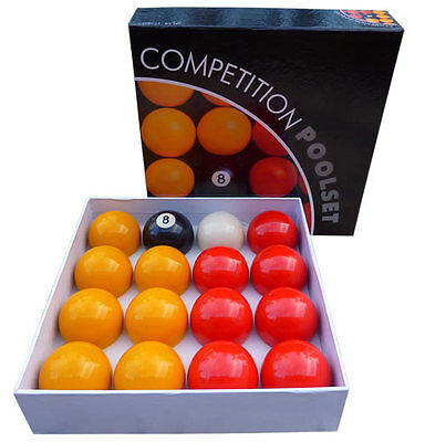 """RED and YELLOW COMPETITION POOL BALLS ENGLISH TABLE 2"""" match quality pub club &"""