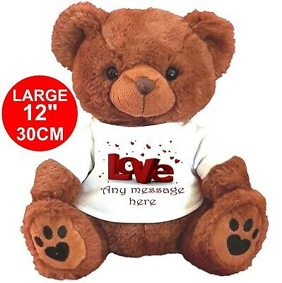 """Personalised Brown Teddy Bear 25Cm/10"""" Sitting Valentines Day Birthday Gifts"""