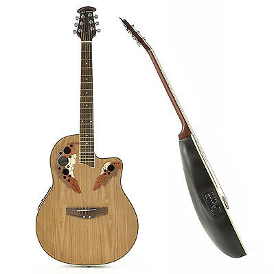New Deluxe Roundback Electro Acoustic Guitar by Gear4music, Natural