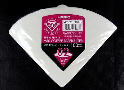 100 x Hario V60 Size 02 Coffee Filter Paper Dripper Cones 1 to 4 cups