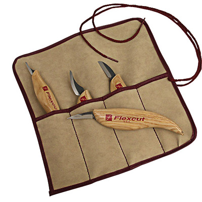 Flexcut #KN100 4-Piece Carving Knife Set with Tool Roll