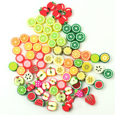 100 x Wholesale Mixed Color FIMO Polymer Clay Fruits Charm Spacer Beads