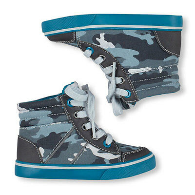 New Children's Place Toddler Boys Kids Camo Hi-top Sneakers Lace Up 8 9 10 11