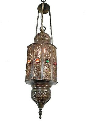 BR204 Vintage Art Deco Handcrafted Pierced Pendant Lighting Lantern