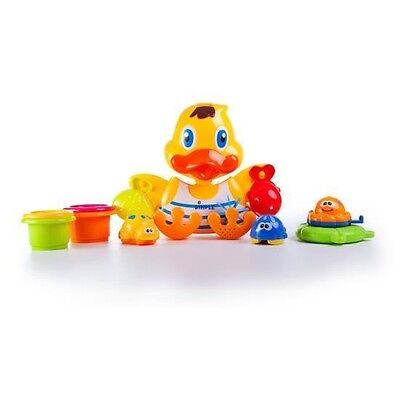 Dimple Duck Wall Mounted Bath Toy with Scoops & Floatable Sea Toys DC11555