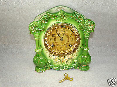 Antique Truth Ansonia New York USA 10''x9'' Ceramic Clock w/winding key