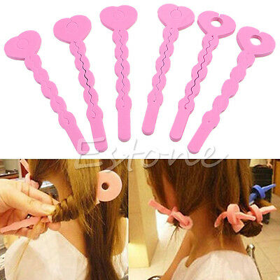 6Pcs Fashion Sponge Spiral Curls Roller DIY Salon Tool Pink Soft Hair Curler New