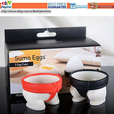 New Sumo Egg Cups Breakfast egg cup black & Red twin package two egg cup inside
