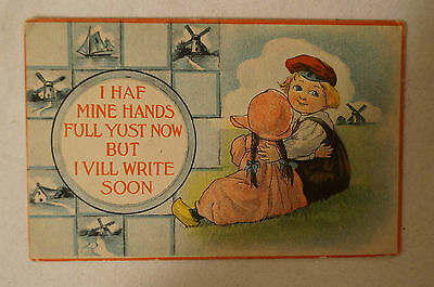 I Have Mine Hands Full Yust Now - Vintage - Collectable - Postcard.
