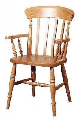 Solid Beech Hardwood Wooden Slat Back Carver Dining / Side Chair Armchair