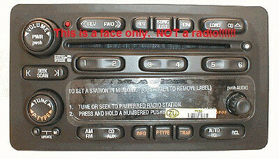 Pontiac black CD6 radio FACE. Have worn buttons? Solve it with this new OEM part