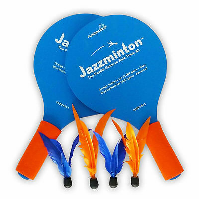Jazzminton paddle game by Funparks. Cross between pingpong and badminton