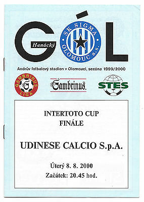Sigma Olomouc v Udinese, 1999/2000 - Intertoto Cup Final Match Programme.