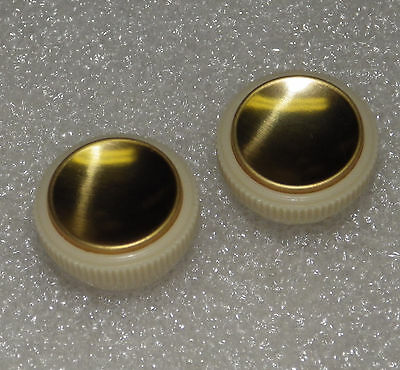 Hofner Teacup Tea Cup Knobs for Beatle Bass Guitar NEW Cream and Gold Set of 2