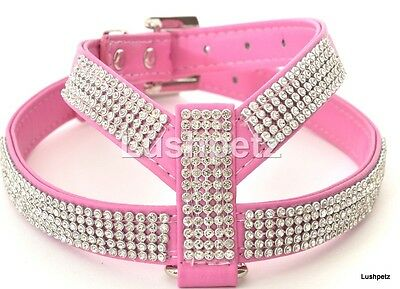 Bright Pink Rhinestone  Diamante Dog Harness toy chihuahua puppy cat bling