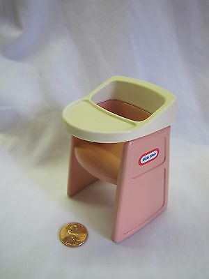 LITTLE TIKES Dollhouse-Sized PINK HIGH CHAIR for 2.5 inch TALL BABY DOLL Great!