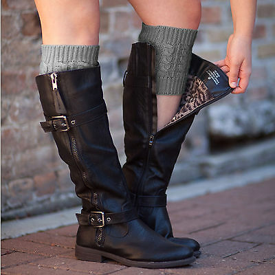 Women Winter Boot Cuffs Shell Knitted Toppers Boot Socks Leg Warmers Tops Braid
