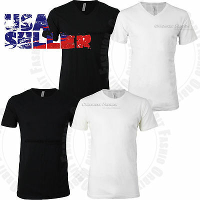 Mens T Shirt Crew V Neck Solid Slim Fit Soft Short Sleeve Tee Cotton Casual Tops