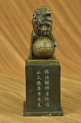 Handcrafted bronze sculpture SALE Marble Ball On Lion Casting