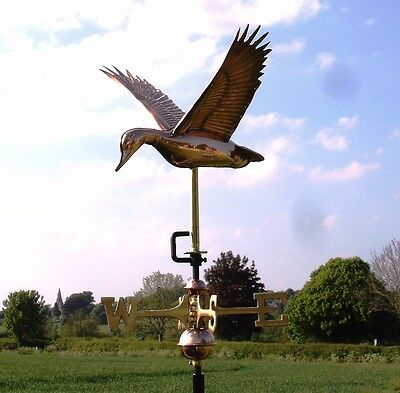 Flying Duck Polished Copper Weathervane