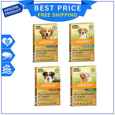 Advocate for Dogs 3 Pipettes All sizes Flea Heartworm Worm treatment by Bayer