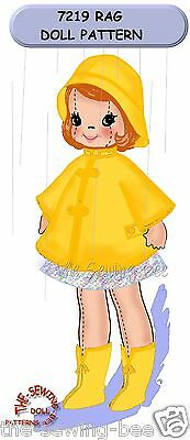 "Girl Rag soft Doll Pattern Rain Outfit 16"" Vintage  - 3 dimensional No. 7219"