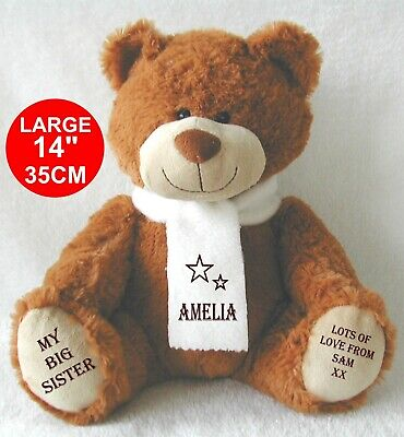 Personalised Brown Teddy Bear EXCLUSIVE 34cm Top to toe BIG/LITTLE SISTER