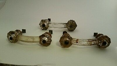 Three Vintage Glass Drawer Handles Victorian Antique