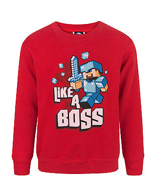 Minecraft Like A Boss Boy's Red Sweatshirt UK Sizes 5 to 10 years
