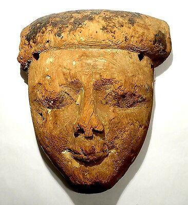 Ancient Egyptian Wooden Mummy Mask - 664/332 Bc Masque De Momie En Bois