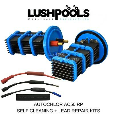 AUTO CHLOR AC50 2 x RP25 Self Cleaning Cells 50Amp AUTOCHLOR  + 2 x 1/2 LEAD KIT