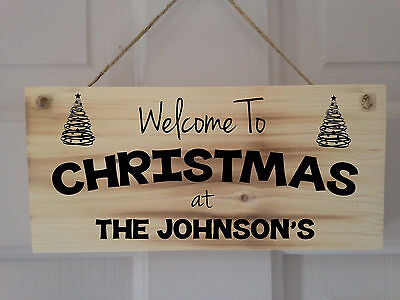 Personalised Wooden Welcome To Christmas Sign Plaque, Perfect Gift, Tree Design