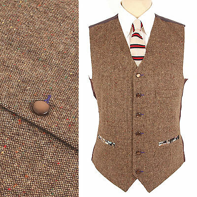 Wool Blend DONEGAL FLECK TWEED 1857 Waistcoat Brown NEW All Sizes Vest Vtg Retro